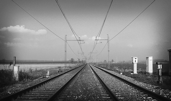 railroad, tracks, telephone cables, deserted, black and white, old