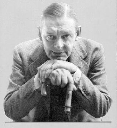 T.S. Eliot with umbrella