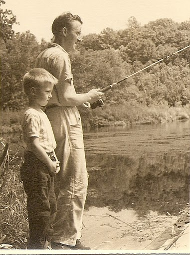 John & Dad Fishing, Brinton Brook, Early 50's