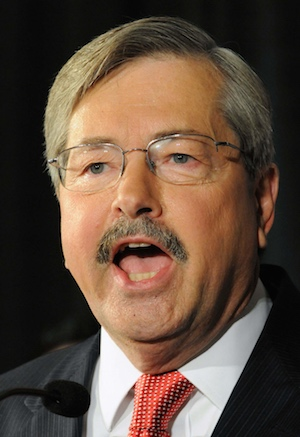 Tuesday, June 8, 2010 -- At 7 Flags in Clive, Terry Branstad speaks at his victory rally. Branstad won the GOP nomination for Iowa governor and will face incumbent Chet Culver in November.  Photo by Warren Taylor
